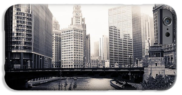 Wrigley iPhone Cases - Chicago River Skyline iPhone Case by Paul Velgos