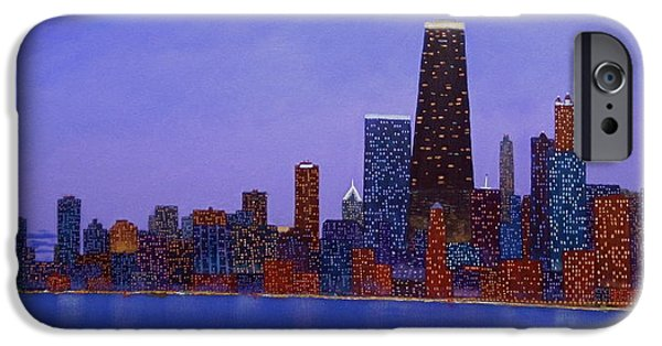 Chicago Paintings iPhone Cases - Chicago Skyline at Dusk from North Ave Beach pier iPhone Case by J Loren Reedy