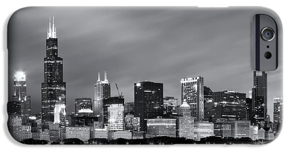 IPhone 6 Case featuring the photograph Chicago Skyline At Night Black And White  by Adam Romanowicz