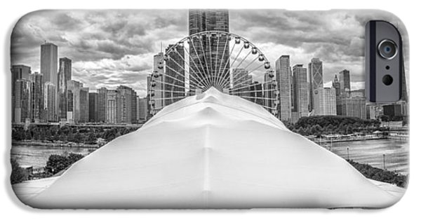 IPhone 6 Case featuring the photograph Chicago Skyline From Navy Pier Black And White by Adam Romanowicz