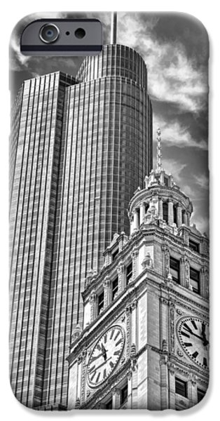 IPhone 6 Case featuring the photograph Chicago Trump And Wrigley Towers Black And White by Christopher Arndt