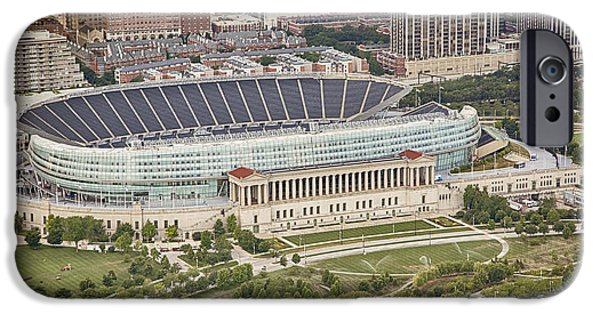 IPhone 6 Case featuring the photograph Chicago's Soldier Field Aerial by Adam Romanowicz