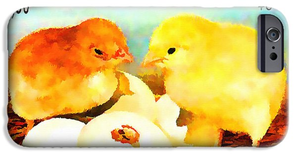 Young Paintings iPhone Cases - Chicks iPhone Case by Lanjee Chee