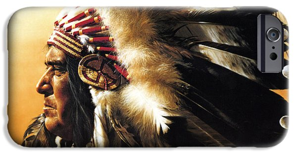 Roots iPhone Cases - Chief iPhone Case by Greg Olsen