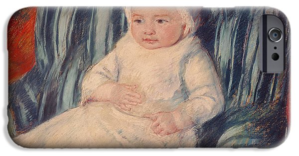 Pastel iPhone Cases - Child on a Sofa iPhone Case by Mary Cassatt