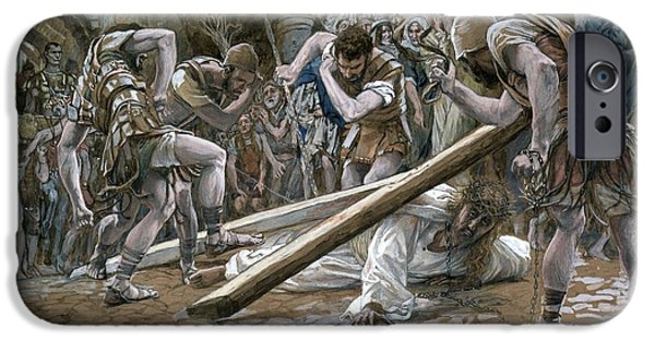 Punishment iPhone Cases - Christ Falls Beneath the Cross iPhone Case by Tissot