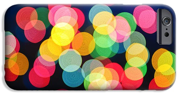 Bokeh iPhone Cases - Christmas lights abstract iPhone Case by Elena Elisseeva