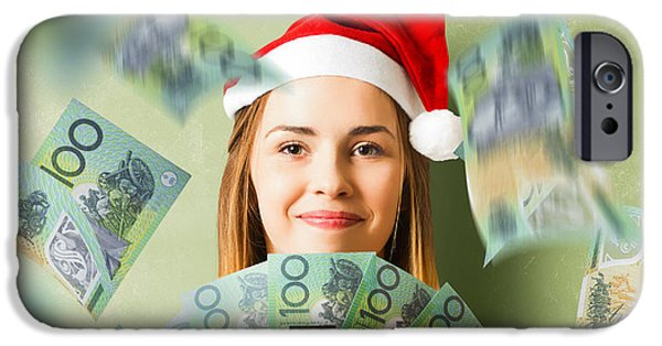 Donation iPhone 6 Case - Christmas Woman With Australian Dollar Money Fan by Jorgo Photography - Wall Art Gallery
