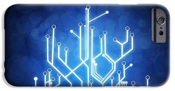 Abstract Digital Art iPhone Cases - Circuit Board Technology iPhone Case by Setsiri Silapasuwanchai