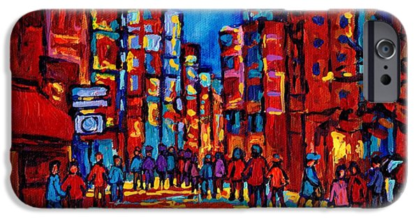 Montreal Storefronts Paintings iPhone Cases - City After The Rain iPhone Case by Carole Spandau