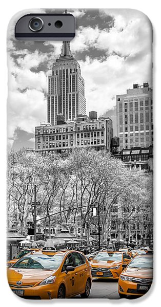 Sepia iPhone 6 Case - City Of Cabs by Az Jackson
