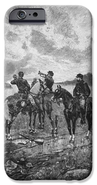 The Horse iPhone Cases - Civil War Soldiers On Horseback iPhone Case by War Is Hell Store