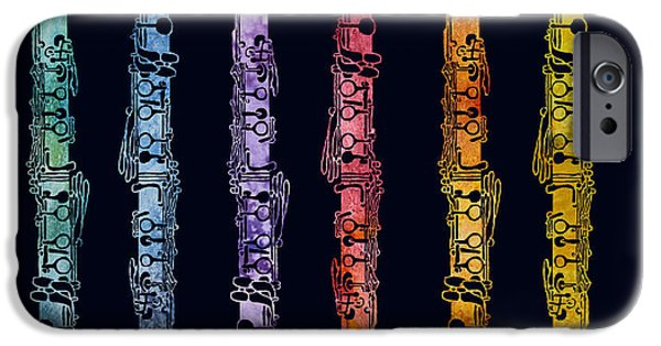Graphic iPhone Cases - Clarinet Rainbow iPhone Case by Jenny Armitage