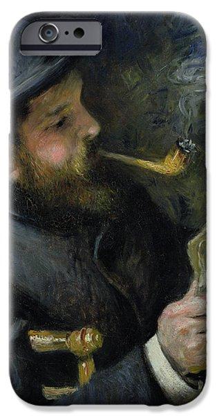 Renoir iPhone Cases - Claude Monet reading a newspaper iPhone Case by Pierre Auguste Renoir