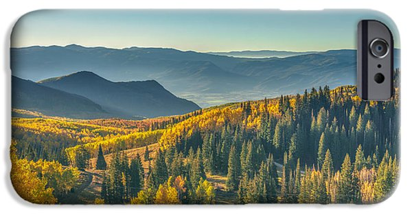 Autumn Foliage Photographs iPhone Cases - Clear Sky Autumn Morning In Utah iPhone Case by James Udall