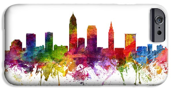 North Drawings iPhone Cases - Cleveland Cityscape 06 iPhone Case by Aged Pixel