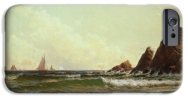 Maine Beach iPhone Cases - Cliffs at Cape Elizabeth iPhone Case by Alfred Thompson Bricher