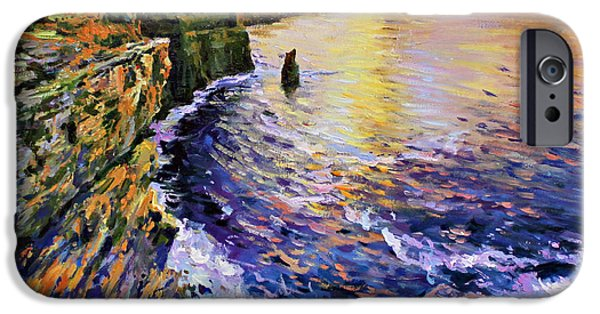 Cliff iPhone Cases - Cliffs of Moher at Sunset iPhone Case by Conor McGuire