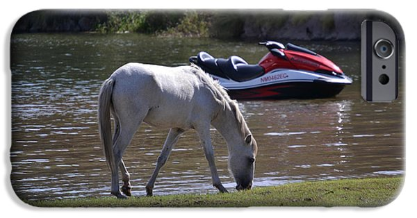 Jet Ski iPhone 6 Case - Coexistence Salt River Wild Horses Tonto National Forest Number Two Jet Ski by Heather Kirk