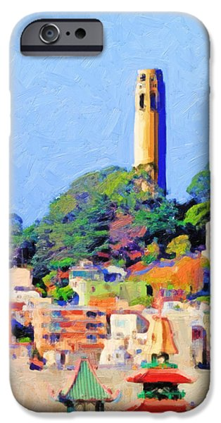 Bay Area Digital iPhone Cases - Coit Tower and The Empress of China - Photo Artwork iPhone Case by Wingsdomain Art and Photography