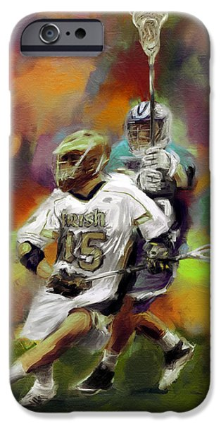 Scott Melby iPhone Cases - College Lacrosse 13 iPhone Case by Scott Melby