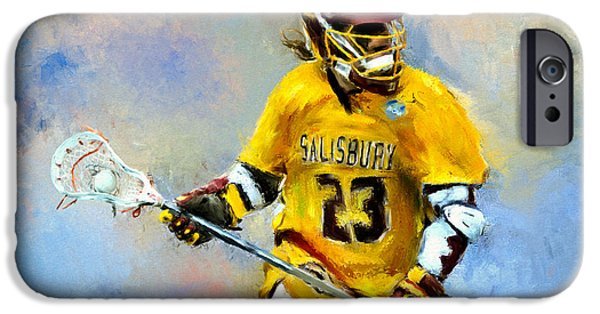 Scott Melby iPhone Cases - College Lacrosse 9 iPhone Case by Scott Melby