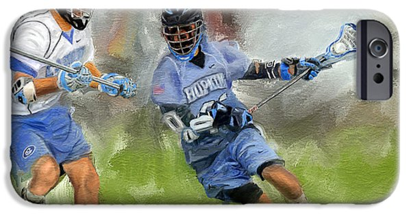 Scott Melby iPhone Cases - College Lacrosse Attack iPhone Case by Scott Melby