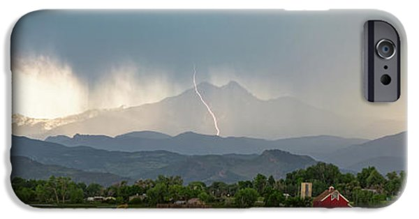 IPhone 6 Case featuring the photograph Colorado Front Range Lightning And Rain Panorama View by James BO Insogna