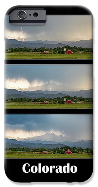IPhone 6 Case featuring the photograph Colorado Front Range Longs Peak Lightning And Rain Poster by James BO Insogna