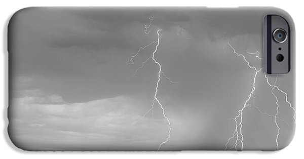 July iPhone Cases - Colorado Rocky Mountains Foothills Lightning Strikes 2 BW iPhone Case by James BO  Insogna