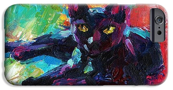 iPhone 6 Case - Colorful Black Cat Painting By Svetlana by Svetlana Novikova