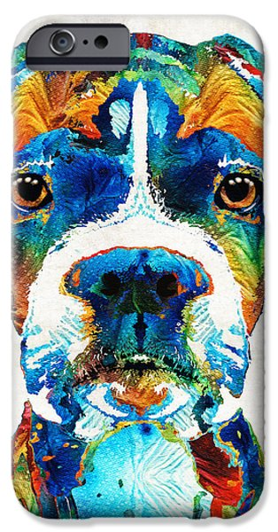 Brown iPhone 6 Case - Colorful Boxer Dog Art By Sharon Cummings  by Sharon Cummings