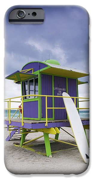 Sea Platform iPhone Cases - Colorful Lifeguard Station and Surfboard iPhone Case by Jeremy Woodhouse