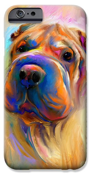 Cute Puppy iPhone Cases - Colorful Shar Pei Dog portrait painting  iPhone Case by Svetlana Novikova