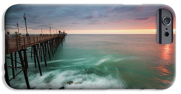 Pacific Ocean iPhone 6 Case - Colorful Sunset At The Oceanside Pier by Larry Marshall
