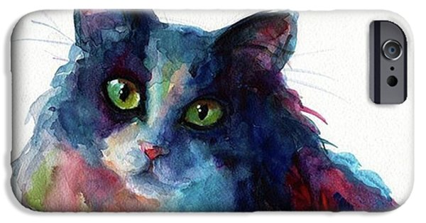 iPhone 6 Case - Colorful Watercolor Cat By Svetlana by Svetlana Novikova