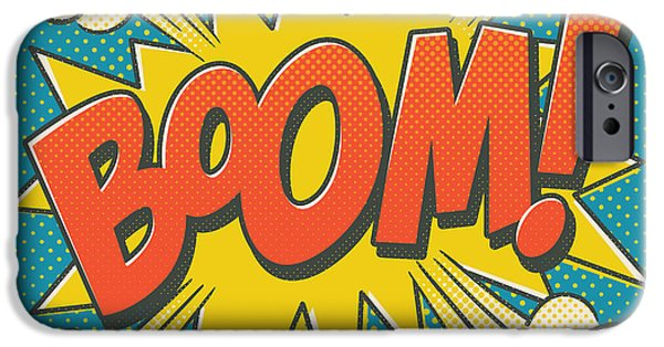Superheroes iPhone 6 Case - Comic Boom On Blue by Mitch Frey