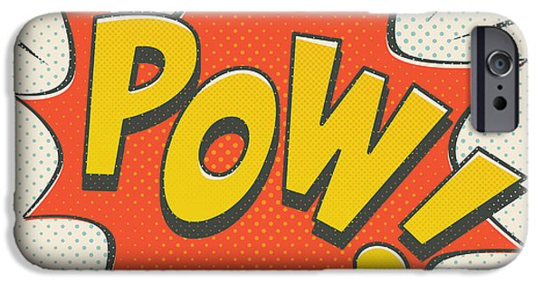 Superheroes iPhone 6 Case - Comic Pow On Off White by Mitch Frey