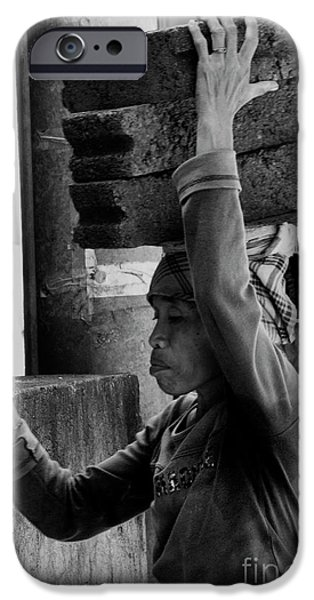 IPhone 6 Case featuring the photograph Construction Labourer - Bw by Werner Padarin