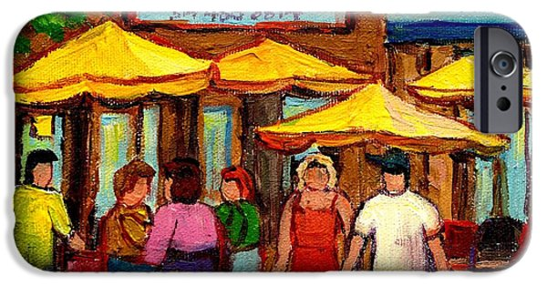 Lubavitcher iPhone Cases - Cosmos  Fameux Restaurant On Sherbrooke iPhone Case by Carole Spandau