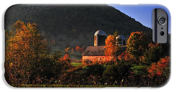 Barn Art iPhone Cases - Country Mornings - West Pawlet Vermont iPhone Case by Thomas Schoeller