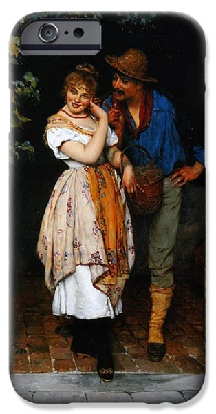 Couple Paintings iPhone Cases - Couple Courting iPhone Case by Eugen von Blaas