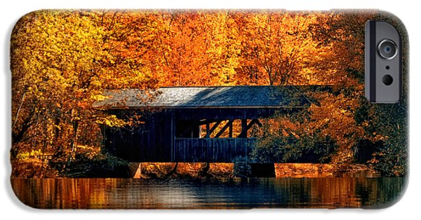 Fall In New England iPhone Cases - Covered Bridge iPhone Case by Joann Vitali