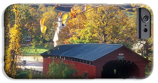 Covered Bridge iPhone Cases - Covered Bridge on the Common West Arlington iPhone Case by John Burk
