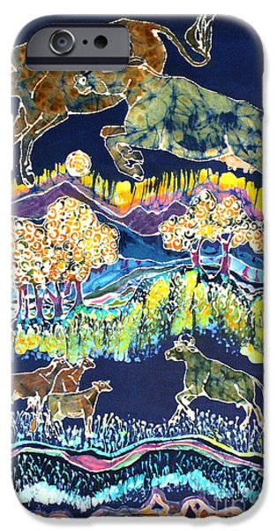 Meadow Tapestries - Textiles iPhone Cases - Cows Jumping Over The Moon iPhone Case by Carol  Law Conklin