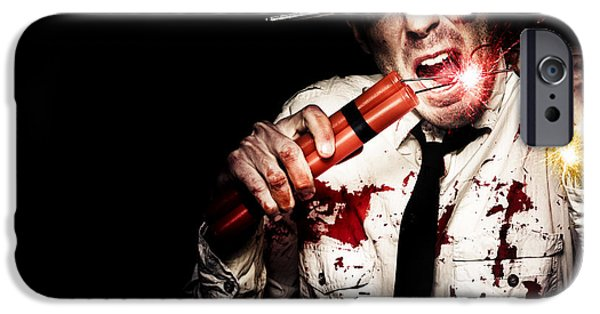 Safety Fuse iPhone 6 Case - Crazy Zombie Businessman With Dynamite Explosives by Jorgo Photography - Wall Art Gallery