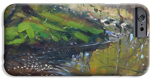Lanscape iPhone Cases - Creek in the Woods iPhone Case by Ylli Haruni