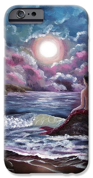 Moon Beach iPhone Cases - Crimson Mermaid iPhone Case by Laura Iverson
