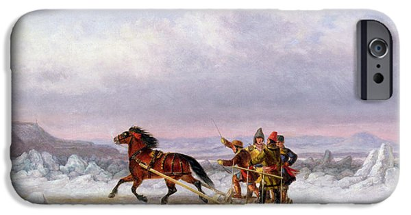 Pulling Paintings iPhone Cases - Crossing the Saint Lawrence from Levis to Quebec on a Sleigh iPhone Case by Cornelius Krieghoff