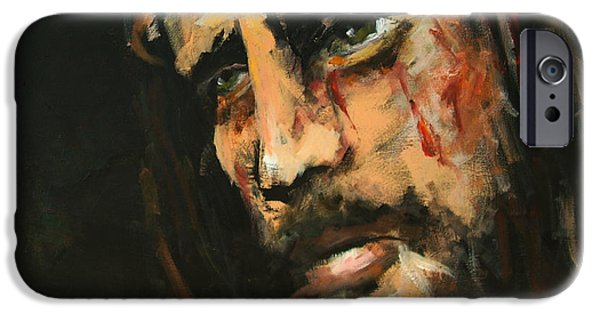 Religious iPhone Cases - Crucified Jesus iPhone Case by Carole Foret